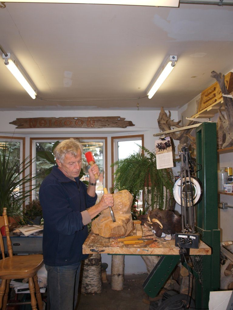 Myself at the height-adjustable carving stand.